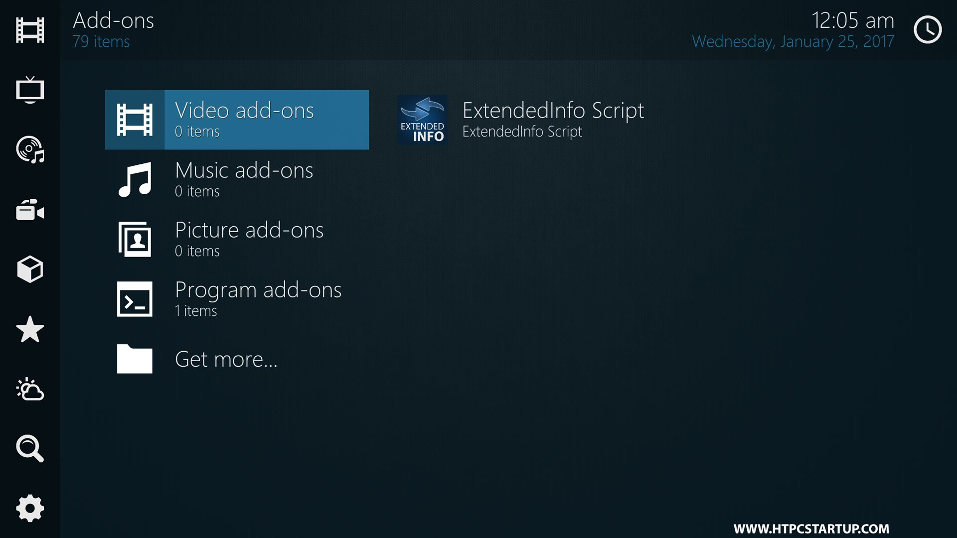 Kodi Omni Skin Addons section
