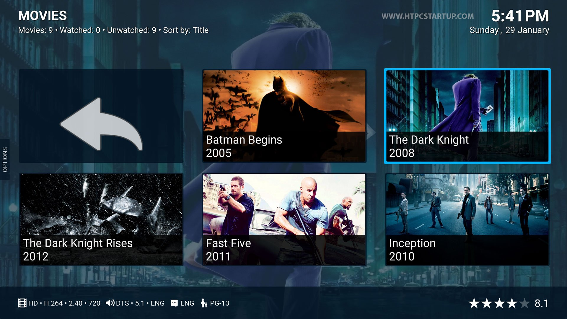 Kodi Titan Skin movies section