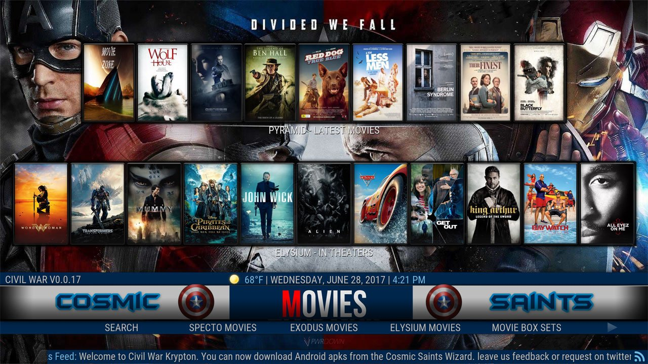 Kodi Civil War Build Movies