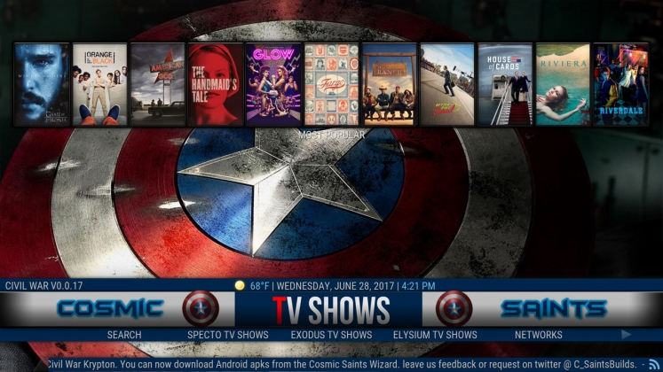 Kodi Civil War Build TV Shows
