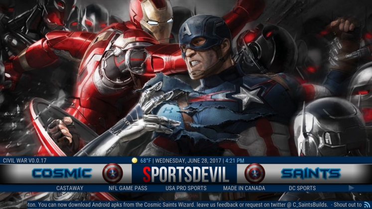 Civil War Build for Kodi from CosmicSaints