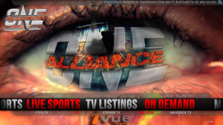 Kodi One Alliance Build TV Listings