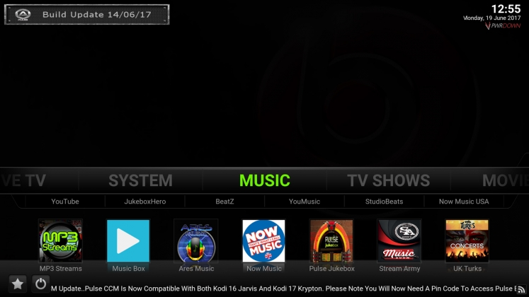 Kodi Pulse CCM Build Music