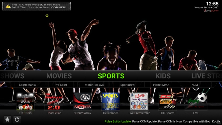 Kodi Pulse CCM Build Sports