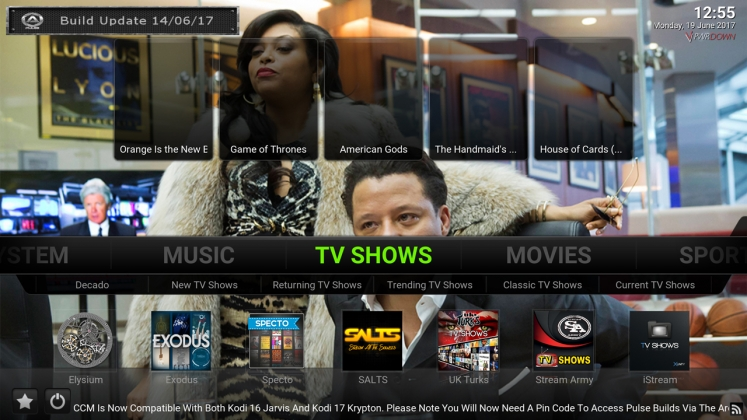 Kodi Pulse CCM Build TV Shows