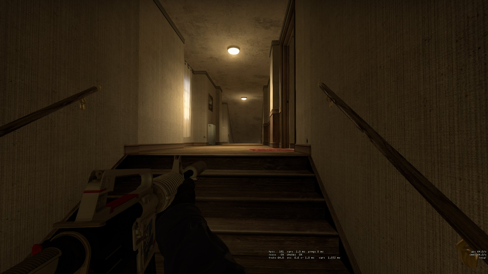 Holding boiler at the top of the stairs, ready to headshot any terrorists.