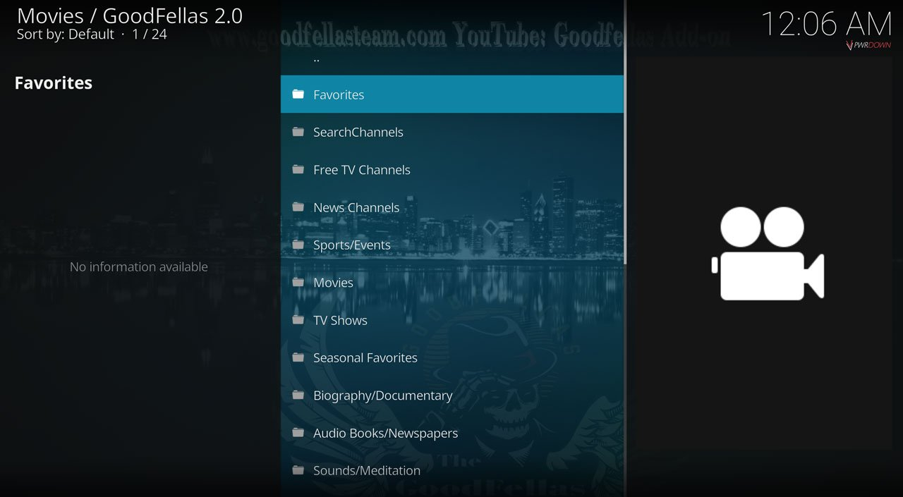 Kodi Goodfellas 2.0 add-on movies
