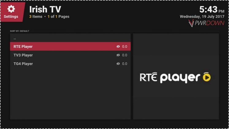 Kodi Irish TV add-on Catch-up TV