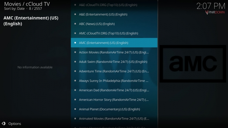 Kodi cCloud TV add-on Channel list