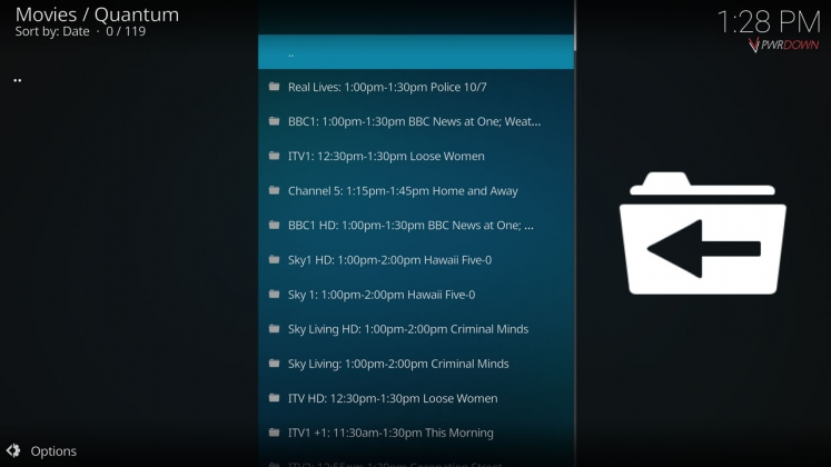 Kodi Quantum Add-on Channel list