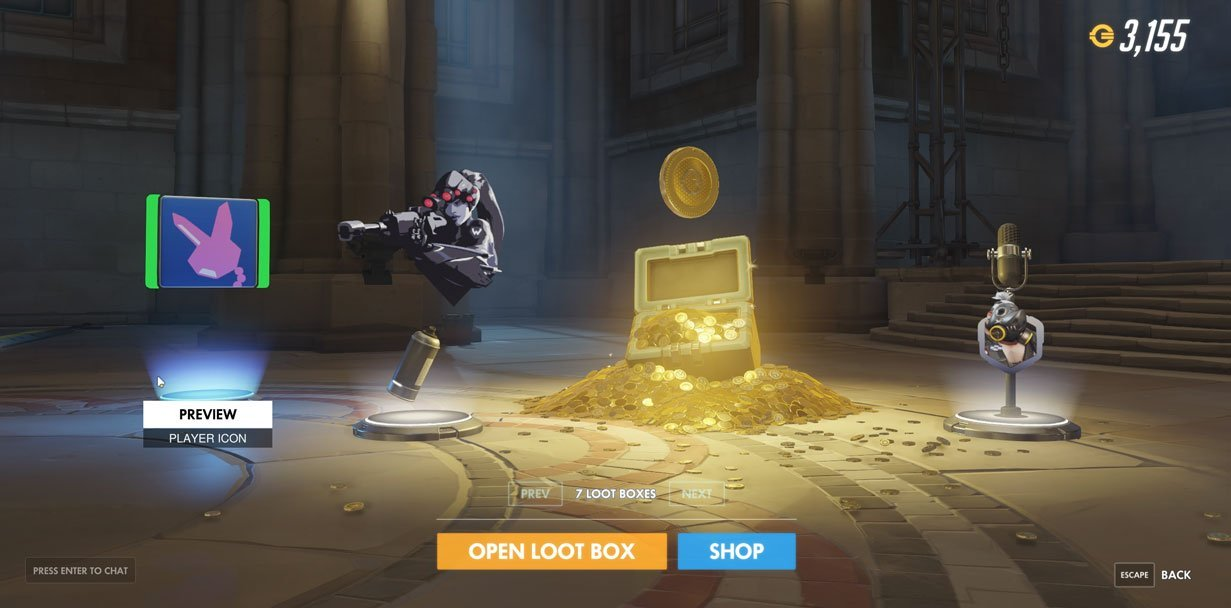 Overwatch Case Opening showing 500 Credits drop