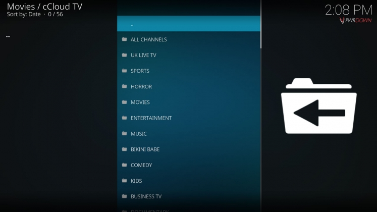 Kodi cCloud TV add-on English section
