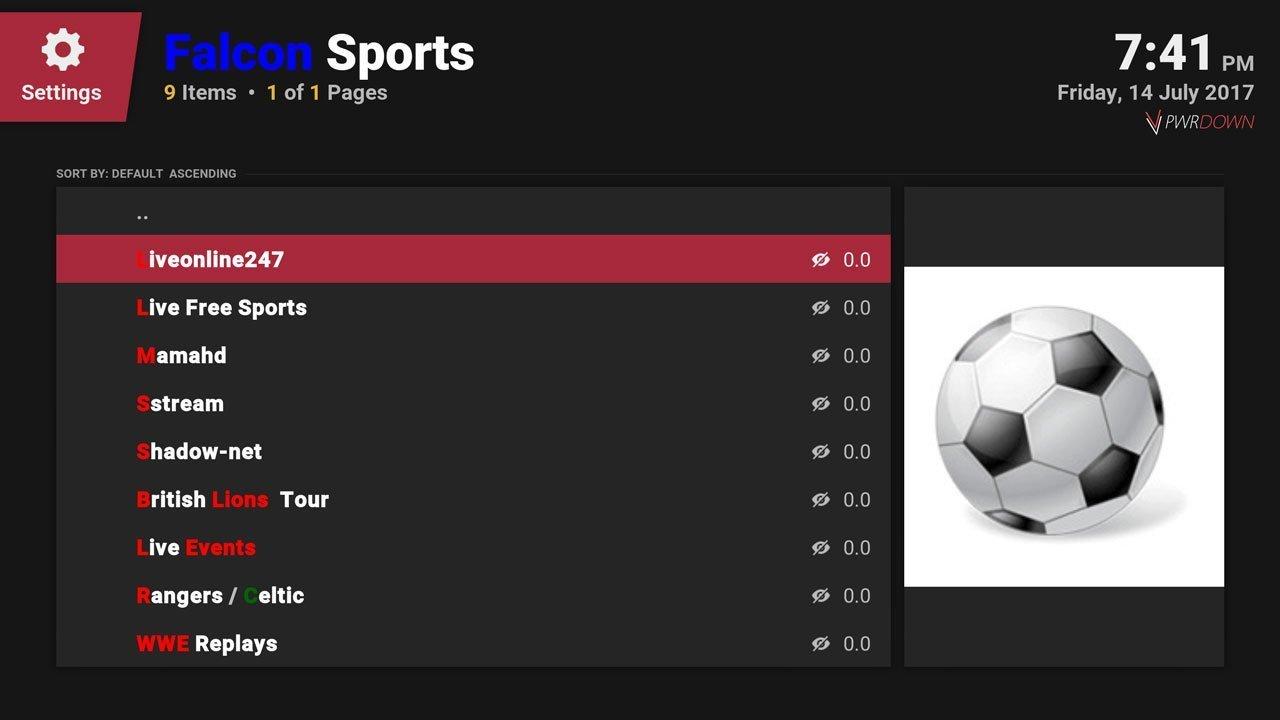 Falcon Sports Kodi add-on