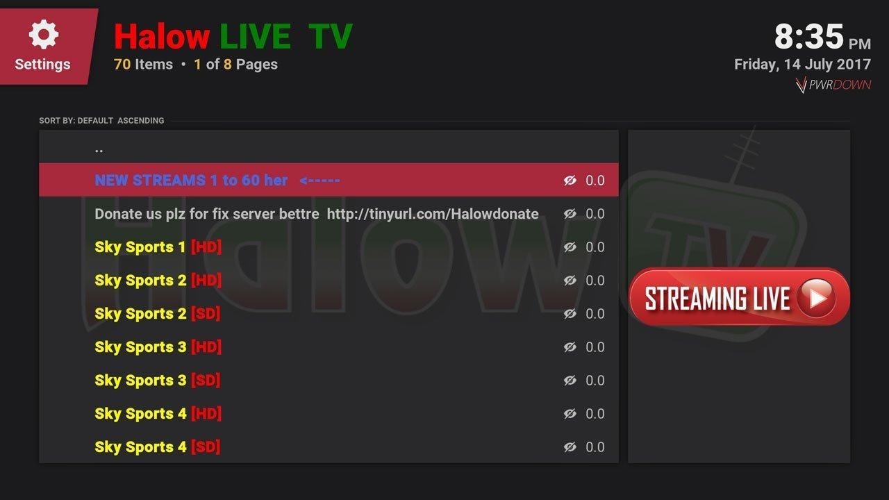 Halow Live Sports channels in Kodi Krypton