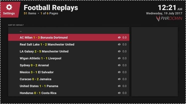 Kodi Football Replays add-on Game Highlights
