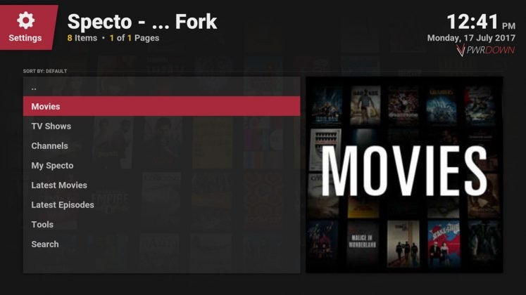 Kodi Specto Fork The Home page