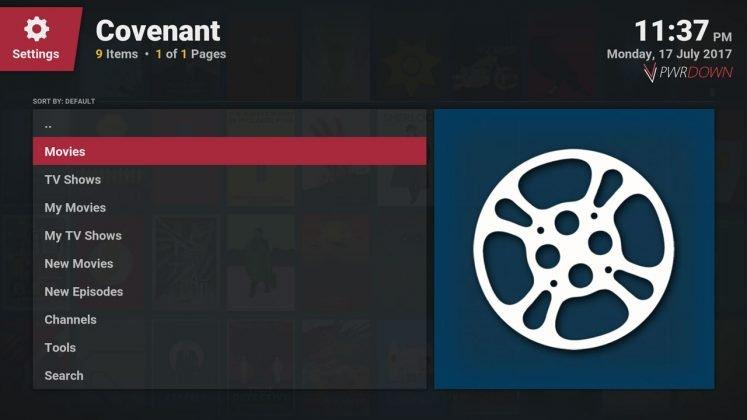 Kodi covenant add-on Home screen