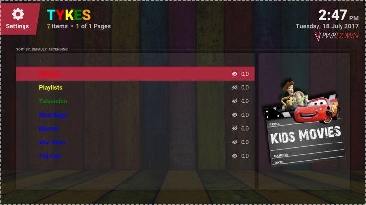 Kodi Tykes add-on Home screen