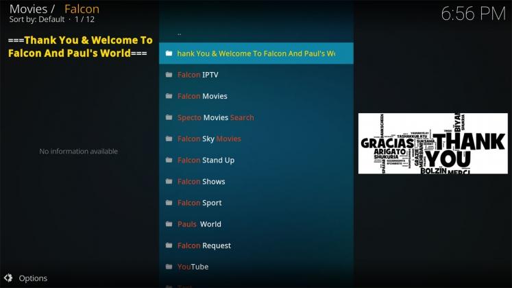 Kodi Falcon Add-on Home menu
