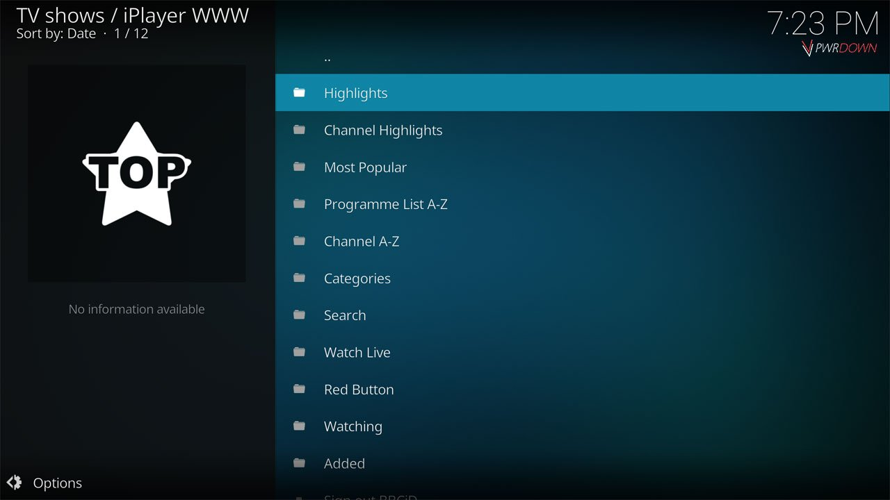Kodi iPlayer WWW Add-on Home screen