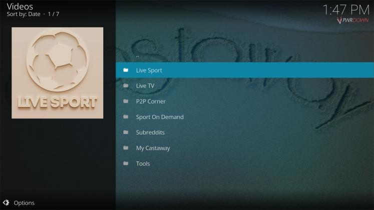 Kodi Castaway Add-on Home menu