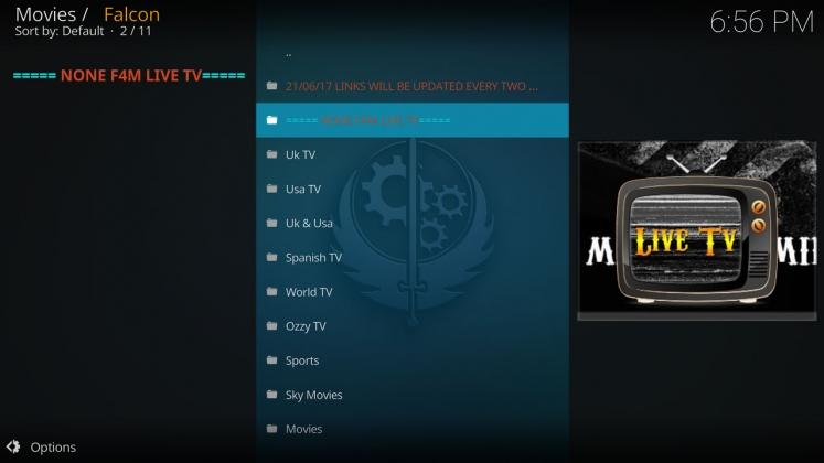 Kodi Falcon Add-on IPTV Section