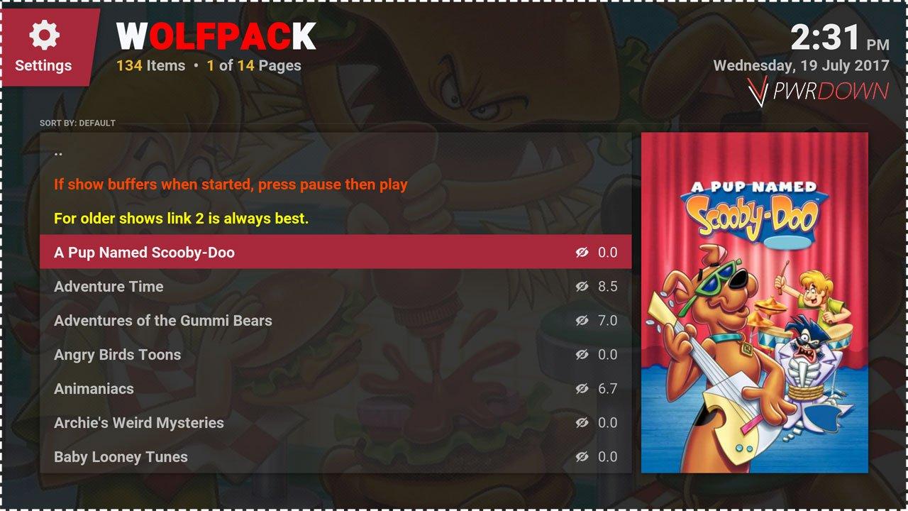 Best kodi add-ons for Kids WolfPack