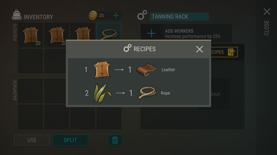 Recipes in Last Day on Earth for Leather and Rope