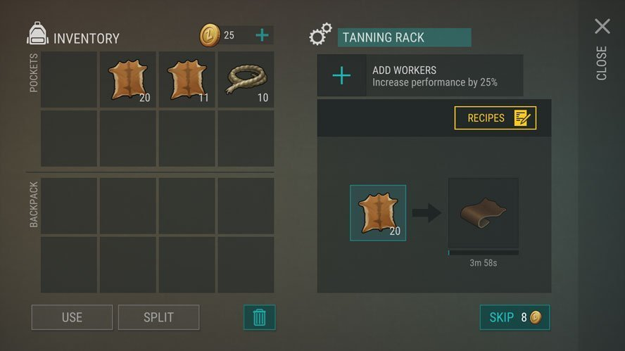 Creating leather in the tanning rack in Last Day on Earth