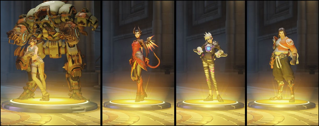 Overwatch Loot Box Opening showing the 4 Legendary Skins that where dropped