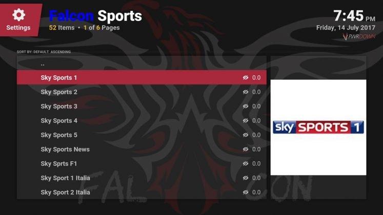 Kodi Falcon Sports add-on channel list for live sports
