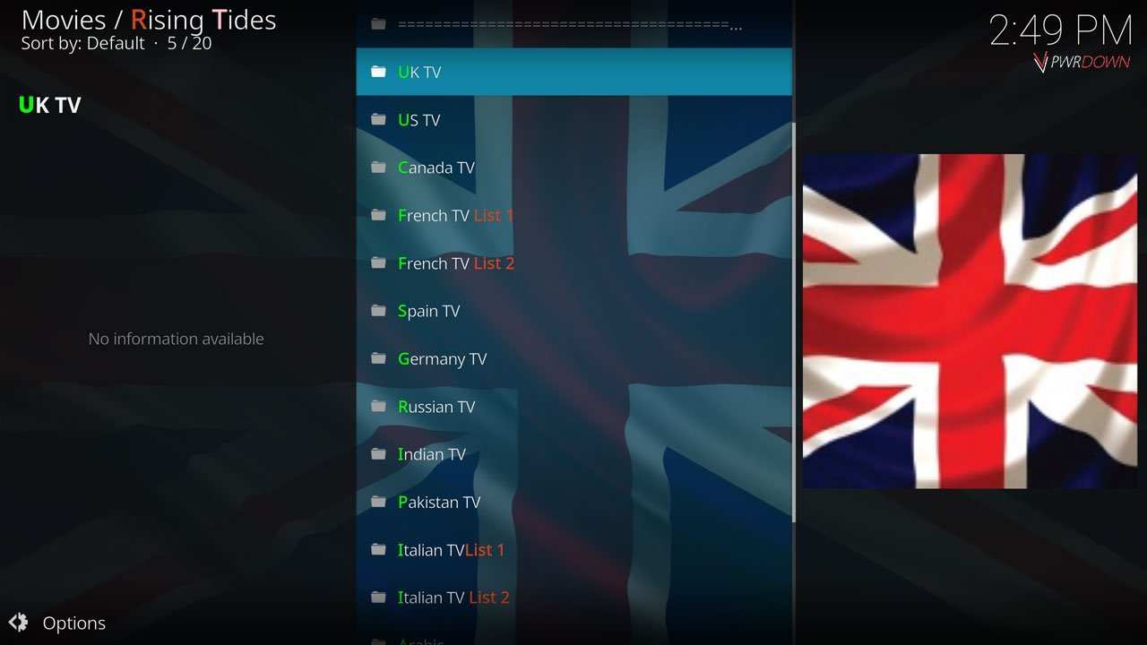 Rising Tides Kodi add-on TV Countries