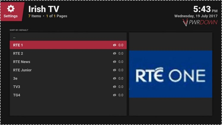 Kodi Irish TV Addon - Watch Irish TV Live & Catch up - PwrDown