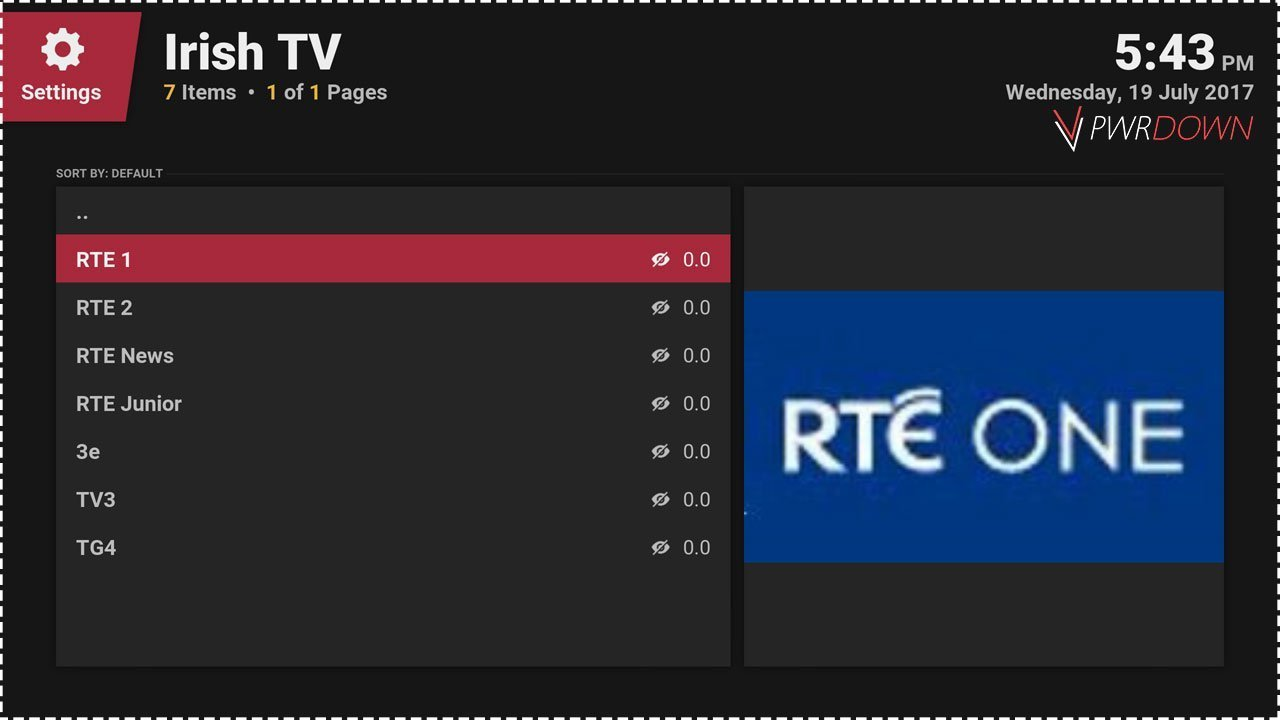 Kodi Irish TV add-on Live TV