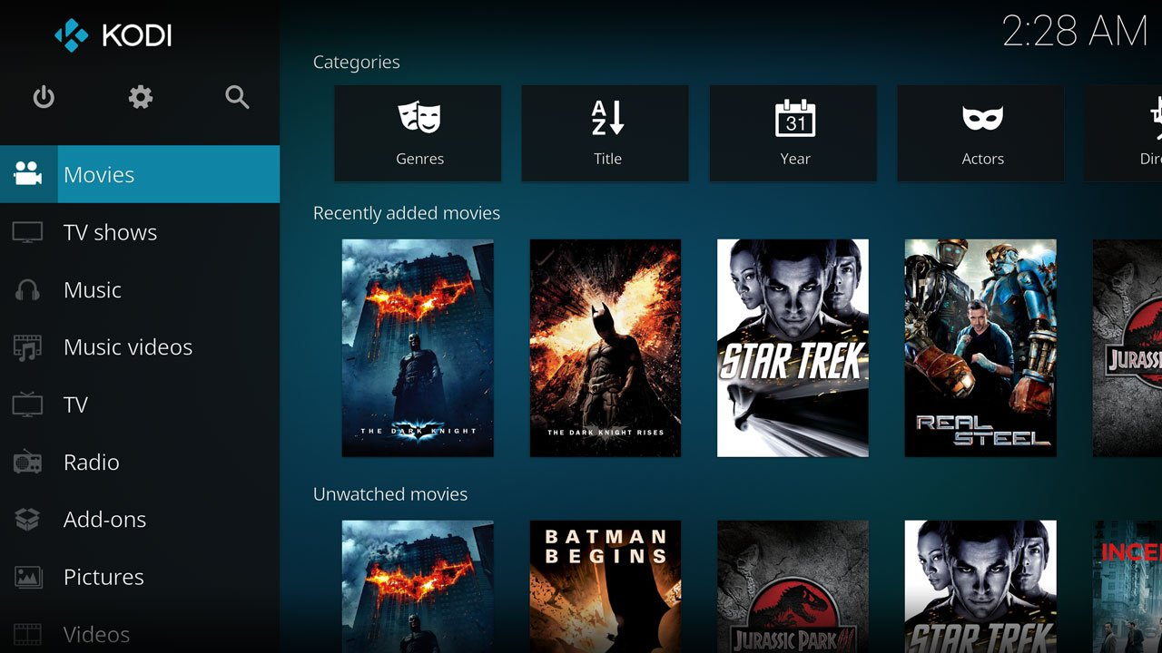 How to add movies to Kodi. Interface showing the kodi library with locally added movies