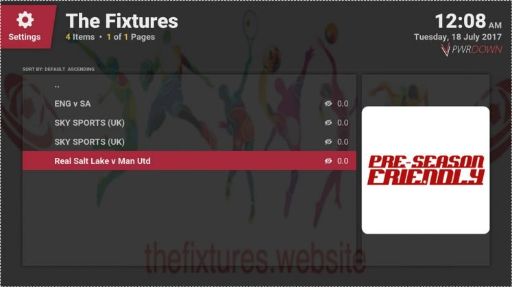 Kodi The Fixtures add-on Match Centre