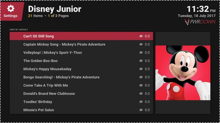 Kodi Disney Junior add-on Episodes of Mickey Mouse