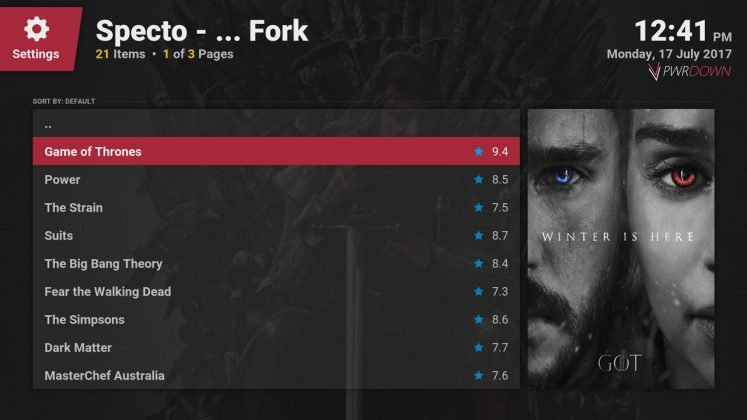 Kodi Specto Fork Most popular TV Shows section