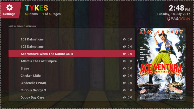 Kodi Tykes add-on Movies