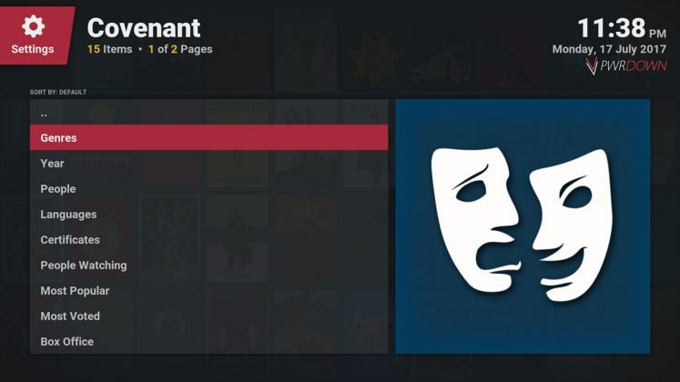 Kodi covenant add-on Movies section