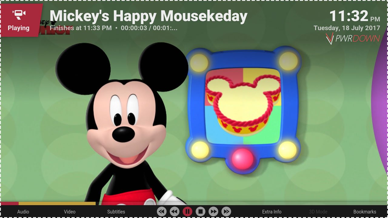 Kodi Disney Junior add-on Now playing and quality preview