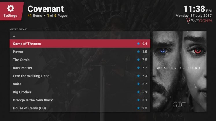 Kodi covenant add-on TV Shows people are watching