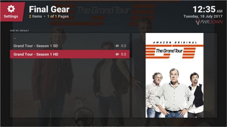 Kodi Final Gear Quality selection
