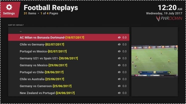 Kodi Football Replays add-on Match replays