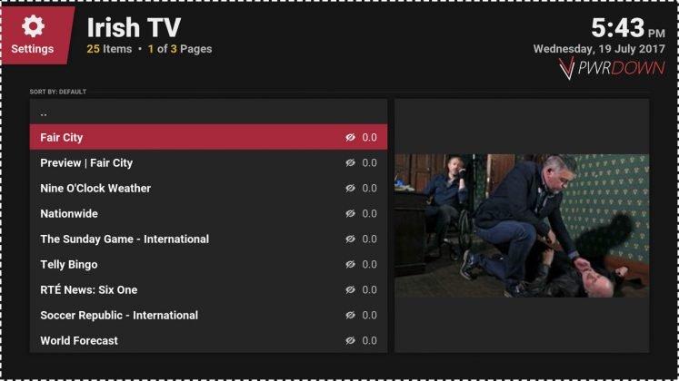 Kodi Irish TV add-on Catch up shows