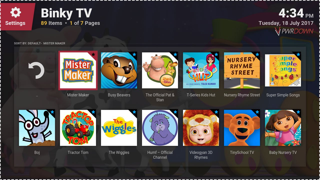 Best kodi add-ons for Kids Binky TV