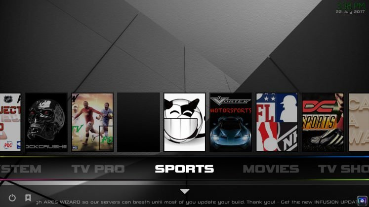 Kodi Infusion Build Sports