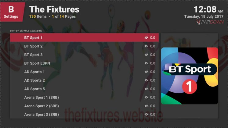 Kodi The Fixtures add-on Channels 2