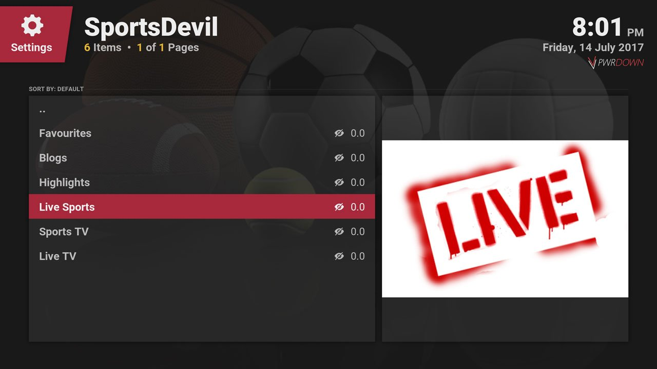 SportsDevil kodi add-on provides live sports