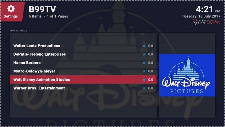 Kodi B99TV Cartoons add-on studios